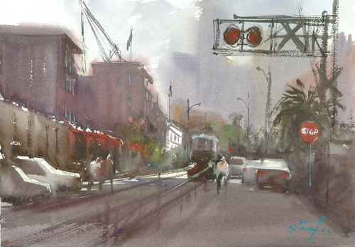 watercolor_landscape_Little Italy Alley San Diego_Keiko Tanabe | artistsnetwork.com
