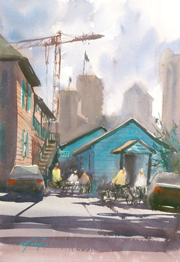 watercolor_landscape_little italy cafe san diego_keiko tanabe | artistsnetwork.com
