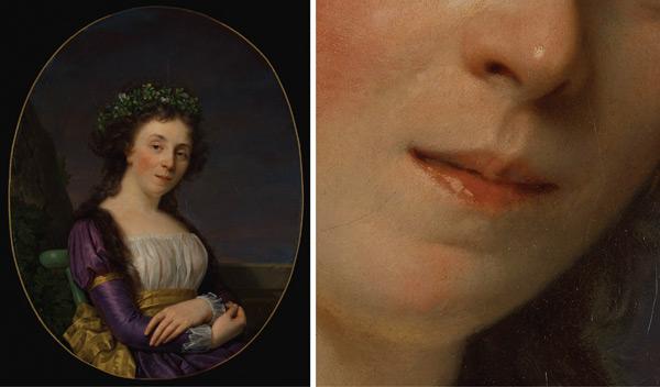 Painting the Mouth: Portrait of Marie-Louise Joubert, nee Poulletier de Perigny by François-Zavier Fabre, plus detail; digital images courtesy of the Getty's Open Content Program | ArtistsNetwork.com