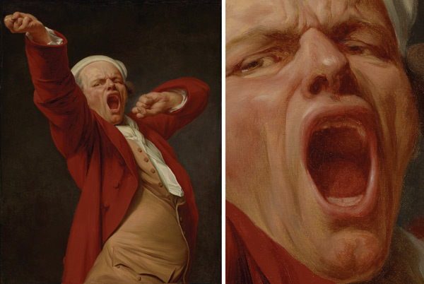 Painting the Mouth: Self-Portrait, Yawning by Joseph Ducreaux, plus detail; digital images courtesy of the Getty's Open Content Program | ArtistsNetwork.com