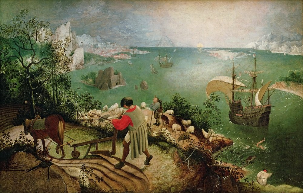 Color theory: Landscape with the fall of Icarus by Pieter Brueghel the Elder, 1560s, oil on canvas.