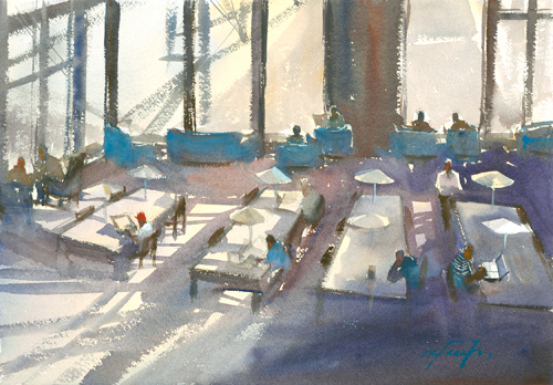 watercolor_landscape_San Diego Library _Keiko Tanabe | artistsnetwork.com
