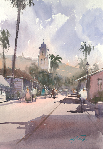 watercolor_landscape_San Diego Old Town Street_Keiko Tanabe | artistsnetwork.com
