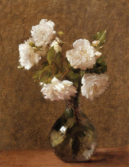 Floral painting: White Roses in a Vase 1906 Victoria Dubourg Fantin-Latour, floral painting.