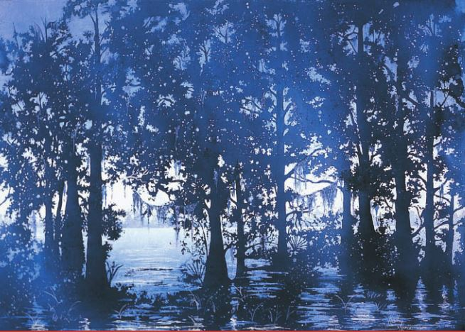 "Color mixing: Early Morning, Lake Verret by Kathy Miller Stone, transparent watercolor, 22"" × 30""."