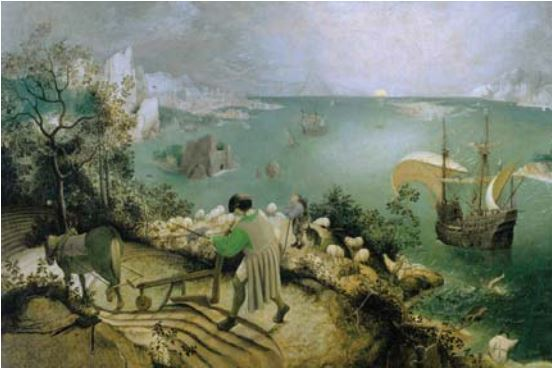 Color theory ration 80:20. Landscape with the fall of Icarus by Pieter Brueghel the Elder, 1560s, oil on canvas.