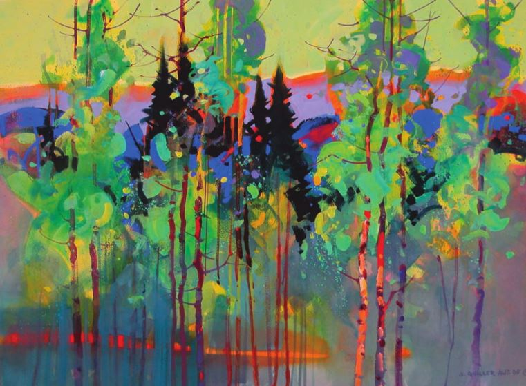 Aspen Patterns & Las Garitas by Stephen Quiller, acrylic and casein. Look at how he explores the color wheel!