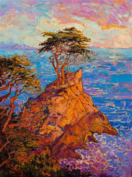 Color mixing -- Lone Cypress, the most famous cypress tree in Monterey, is painted here in vivid color and strong brush strokes, by California impressionist Erin Hanson