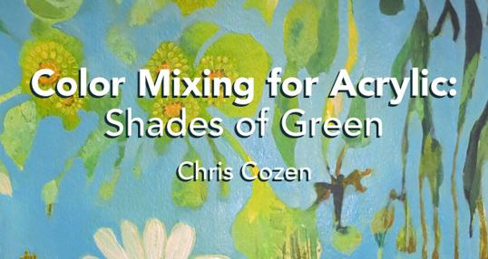Color mixing and acrylic painting the color green.