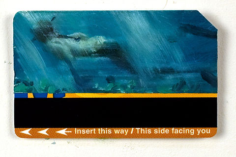 "Snorkler by James Bereswill. A credit card or metro card is a perfect ""canvas"" for a mini painting."