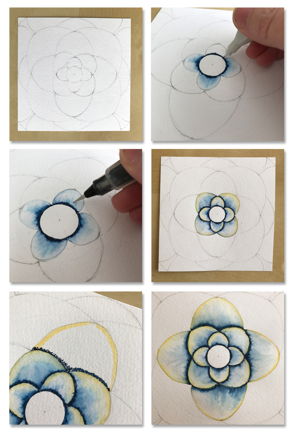drafting and coloring a lotus mandala using Aqua markers