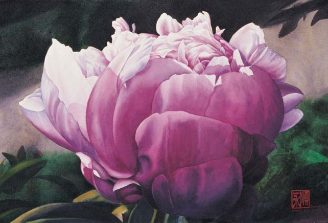 Peony at Dawn by Soon Warren, watercolor painting, 15 x 22.