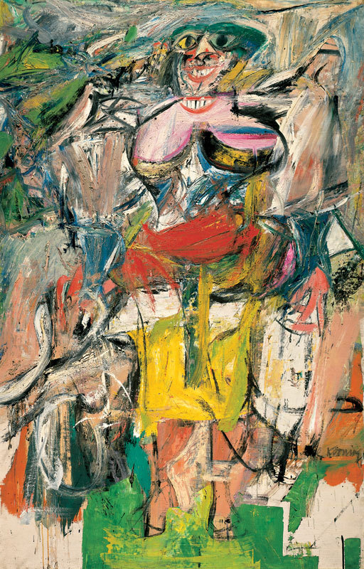 Abstract painting: Woman and Bicycle by William de Kooning, mixed media.