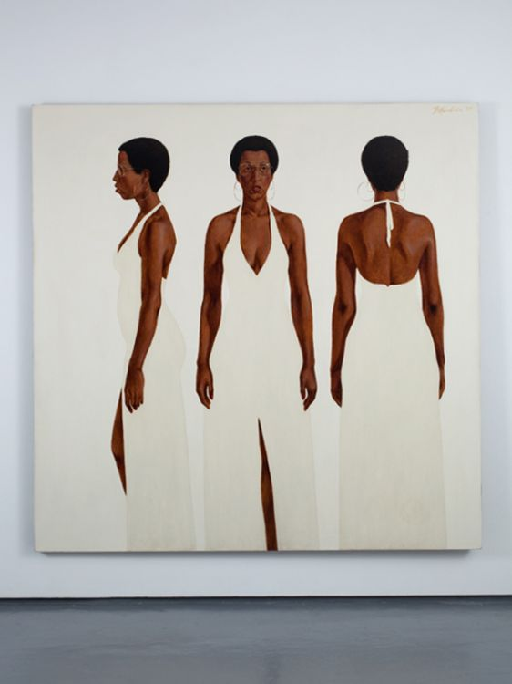 Barkley Hendricks portraiture.BARKLEY L. HENDRICKS, October's Gone...Goodnight, 1973, Oil and acrylic on linen canvas, 72 x 72 inches, BH09.021. Courtesy of Jack Shainman Gallery.