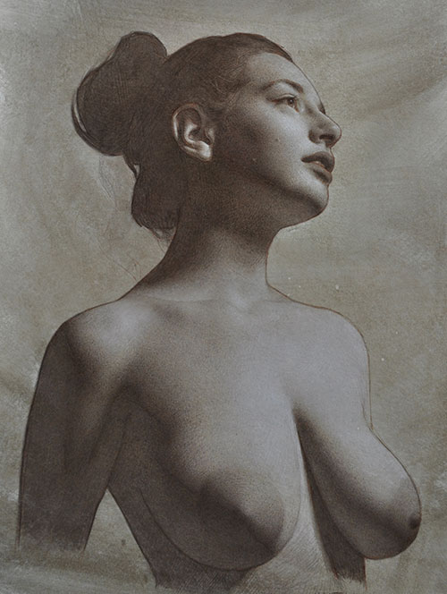 Drawning 2017, colored pencil and white charcoal on toned paper, 12 x 9. Collection the artist; Spring 2017 issue of Drawing magazine, Tell Your Story Through Art | Artist's Network