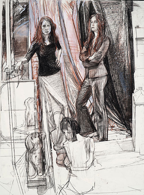 Study for the Daughters of Peter Rounds (The Twins) ca. 2005, graphite, Conté crayon, Prismacolor crayon and collage, 45½ x 34. Spring 2017 issue of Drawing magazine, Tell a Story with Your Art | Artist's Network