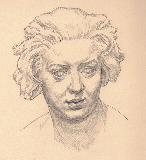 Drawing of Bust of Costanza Bonarelli by Jon deMartin, graphite, 9 x 7. This drawing copies the Bust of Costanza Bonarelli, a marble sculpture by Gian Lorenzo Bernini (1598–1680). Spring 2017 issue of Drawing magazine, Tell a Story with Your Art | Artist's Network