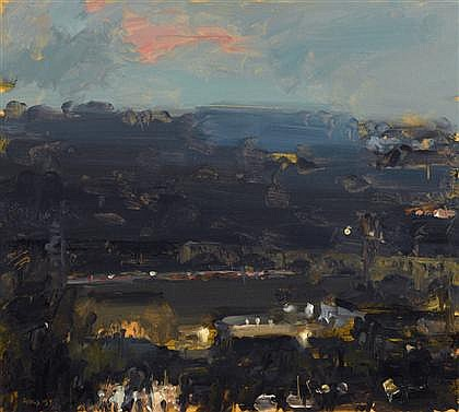 Abstract painting: Evening Over Manayunk by Stuart Shils.