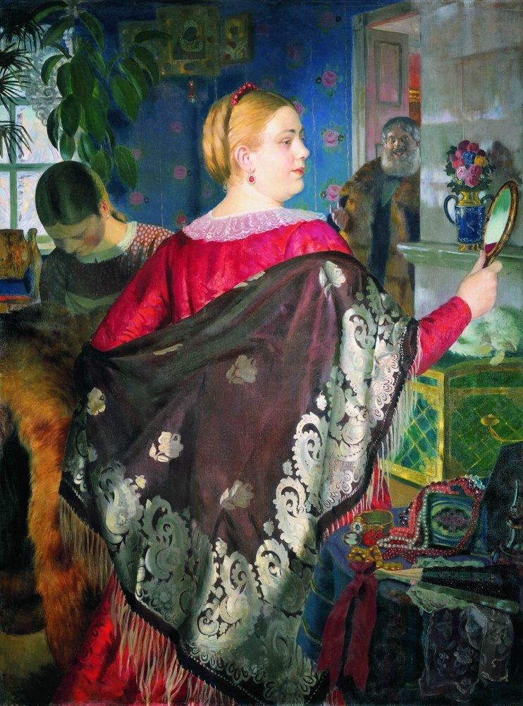 Merchant Wife with a Mirror by Boris Kustodiev.