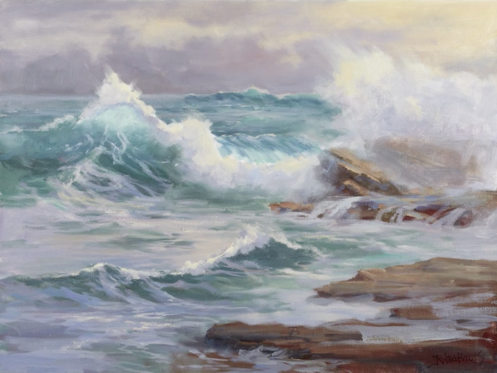 Painting water, painting mist in oil, Johannes Vloothuis, oil techniques, oil tips, painting seascapes, oil seascapes, painting techniques, landscape techniques