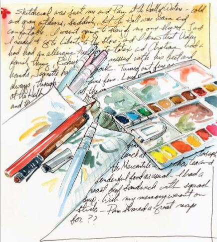 Never fear the blank page in your art journal. When in doubt, sketch your stuff. Or food!