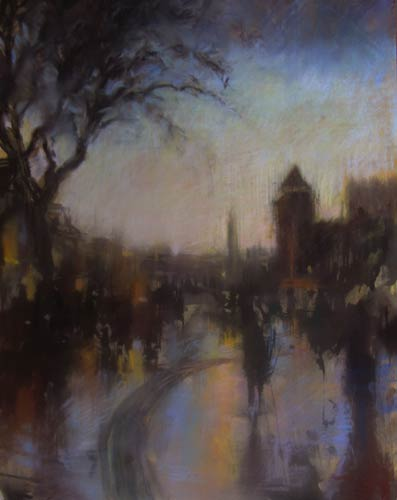 pastel_cityscape_milner_rainy-day-in-Cardiff_500 | artistsnetwork.com