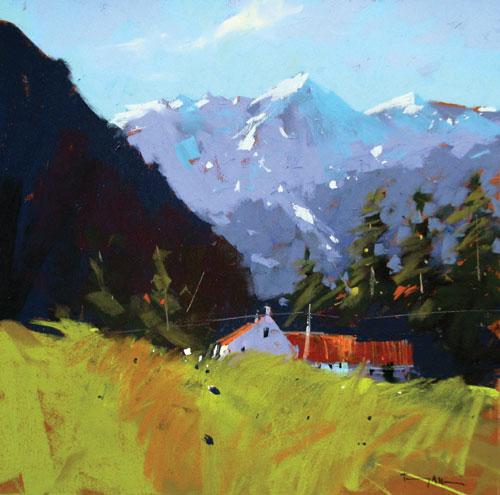 pastel_landscape_gibbston-valley_nz_tony_allain_18x18 | pastel painting tips, pastel techniques, pastel compositions, pastel paintings, painting tips, Tony Allain