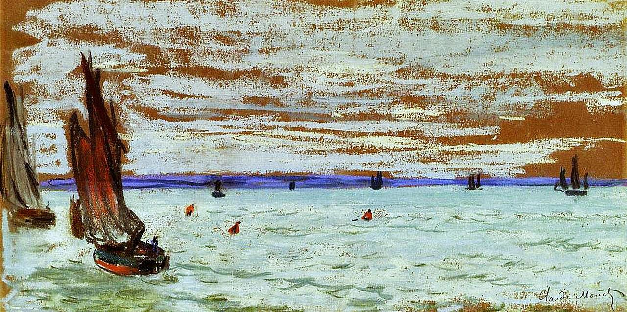 Open Sea by Claude Monet, pastel drawing