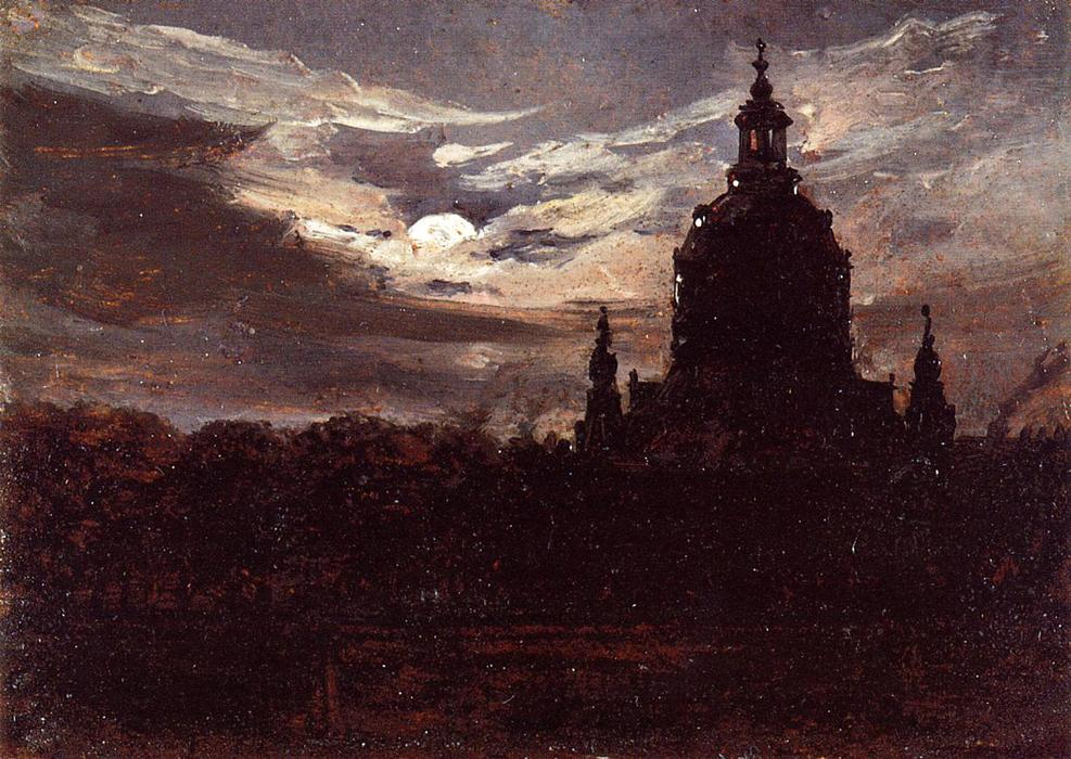The Frankenkirche, Dresden by Johan Christian Clausen Dahl, oil painting.