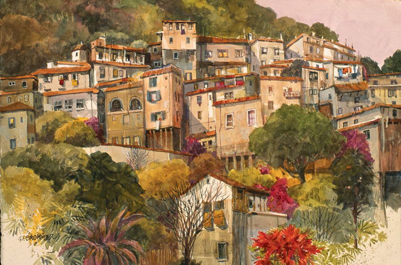 Taxco Hillside by Gerald Brommer; art relationships, art encouragement, Betsy Dillard Stroud, Artist's Network, Watercolor Masters and Legends