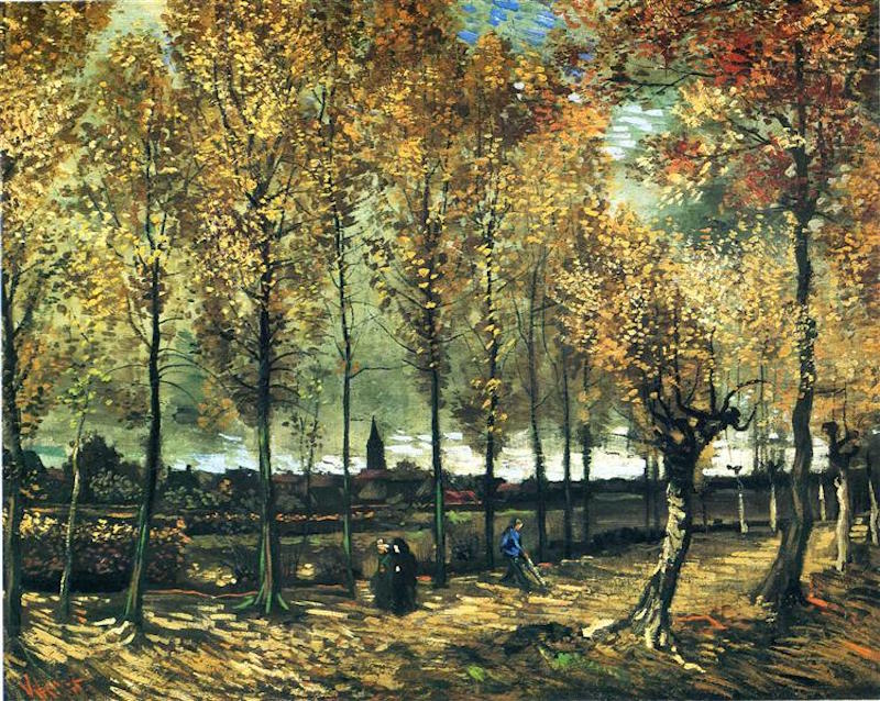 Lane With Poplars Near Nuenen by Vincent van Gogh, 1885, xanthopsia, artist daily