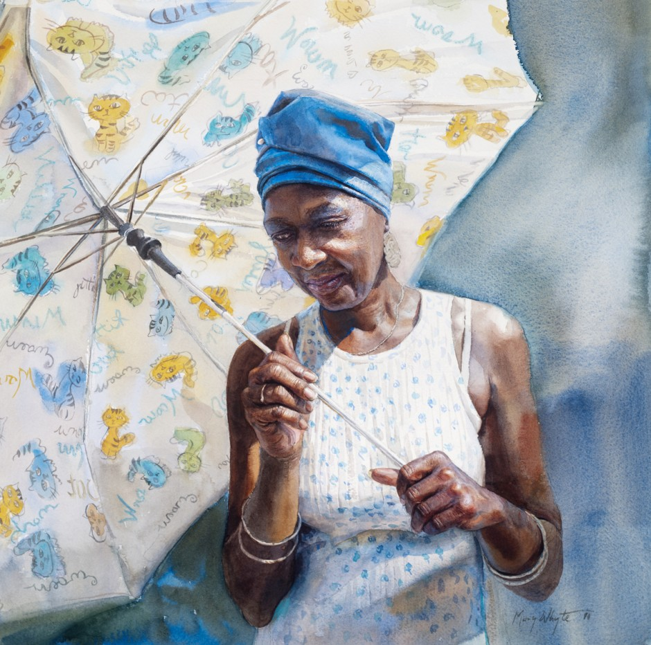 Sun Umbrella by Mary Whyte, watercolor painting.