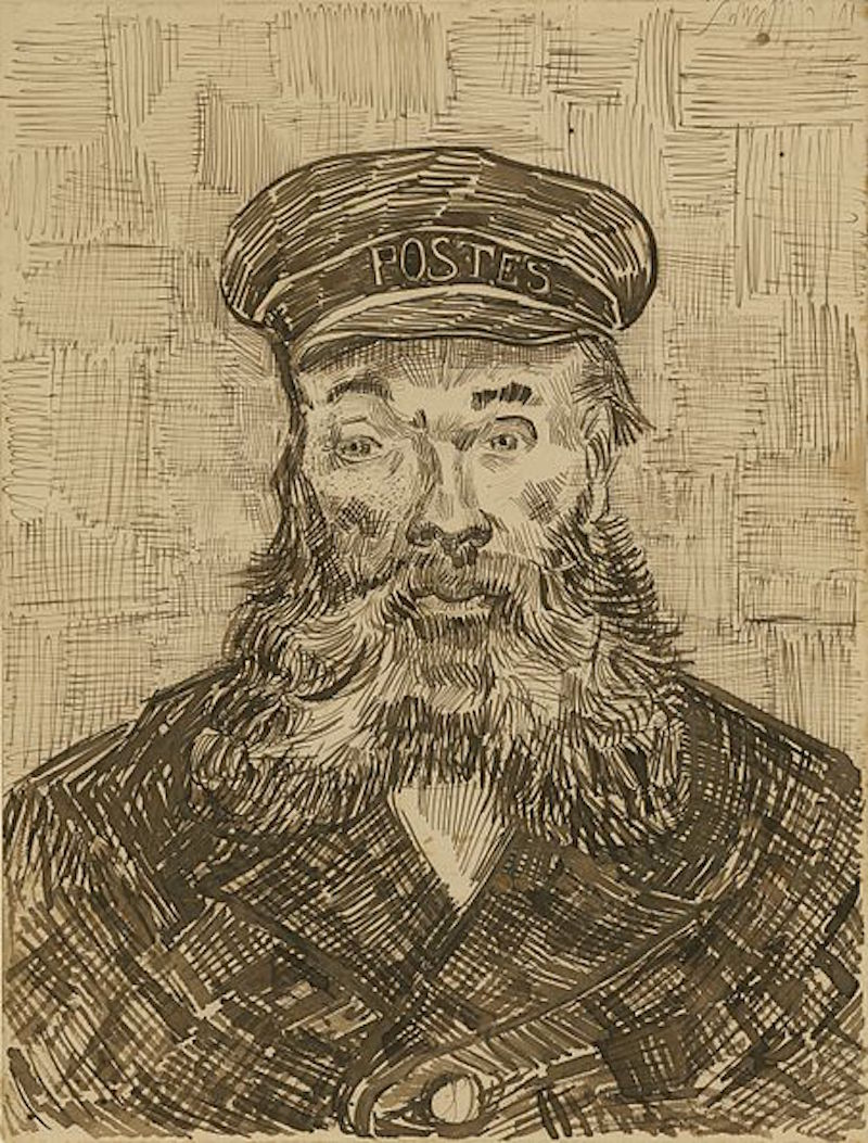Portrait drawing of the Postman by Vincent Van Gogh.