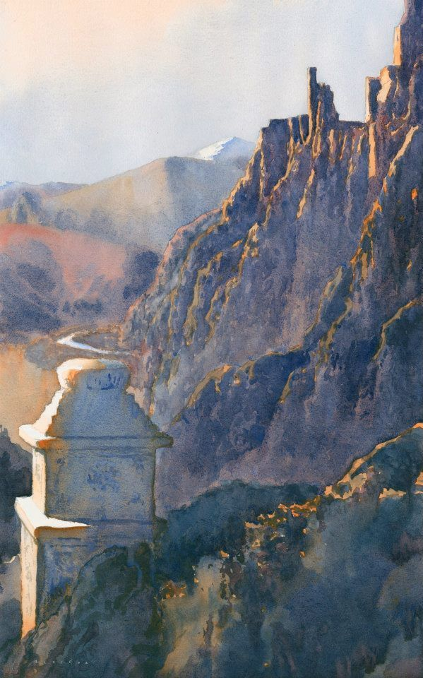 Value to color in watercolor painting. The Ruins of Hankar, Ladakh by Michael Reardon, watercolor painting.