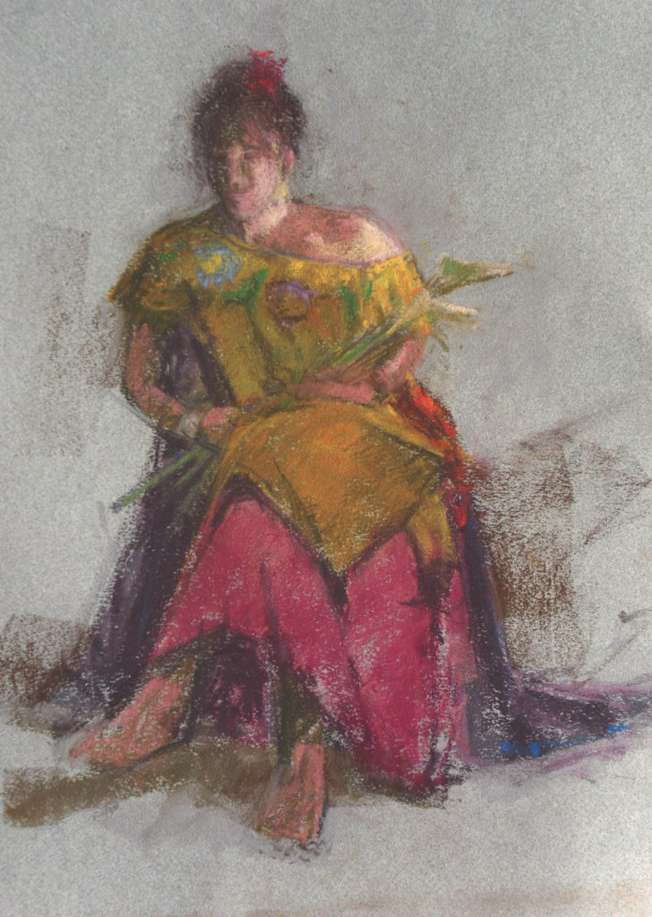 Gold and Violet by Michael Chesley Johnson, pastel on paper | How to sketch people at the airport, feature from Artists Magazine