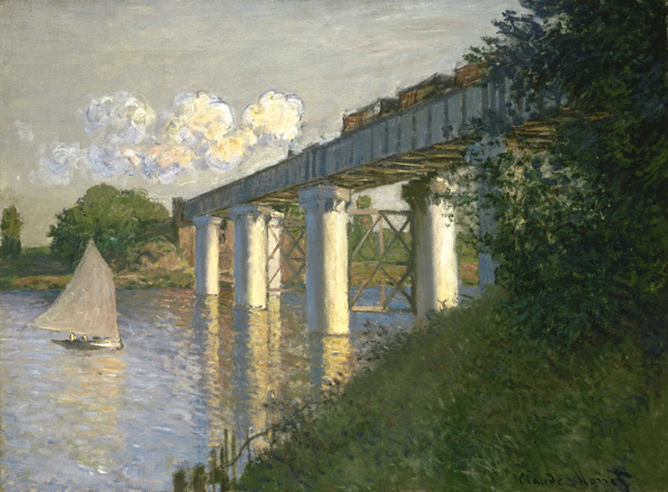 The Railroad Bridge at Argenteuil by Claude Monet, 1873. Demonstrating the principles of linear perspective.