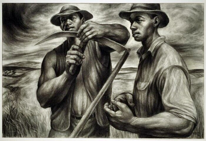 Harvest Talk by Charles Wilbert White, drawing.