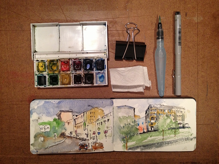 Pocket Sketching Tools for watercolor painting on the go; article brought to you by Artists Network