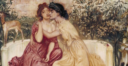 Sappho and Erinna in a Garden at Mytilene (1864; watercolor on paper, 13x15) by Simeon Solomon, detail | LGBTQ Artists In History