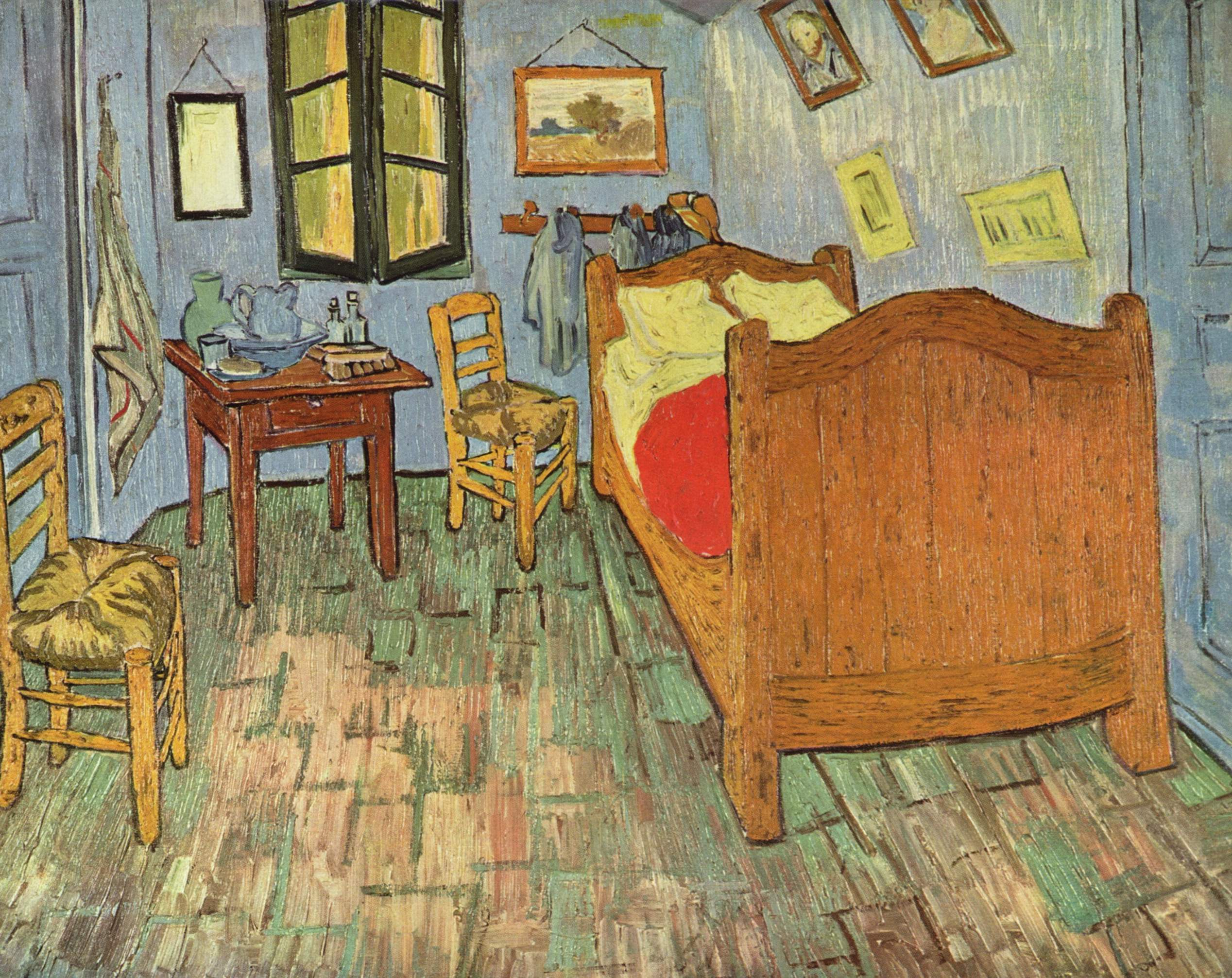 The Chamber by Vincent van Gogh, oil painting. The work shoes one-point perspective, with a vanishing point at the bottom right window pane, roughly.