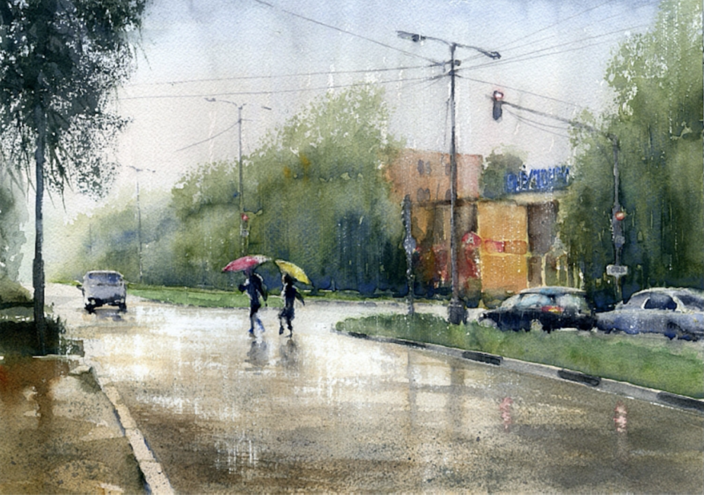 Watercolor painting with rainfall effects by Vladimir Tuporshin | How to Paint Rain in Watercolor