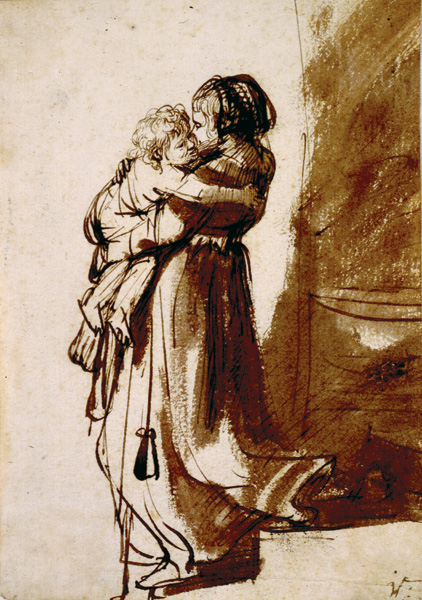 Woman Carrying a Child Down Stairs by Rembrandt | A List of 10 Master Drawers, and What They Teach Us | Drawing magazine | Artist Daily