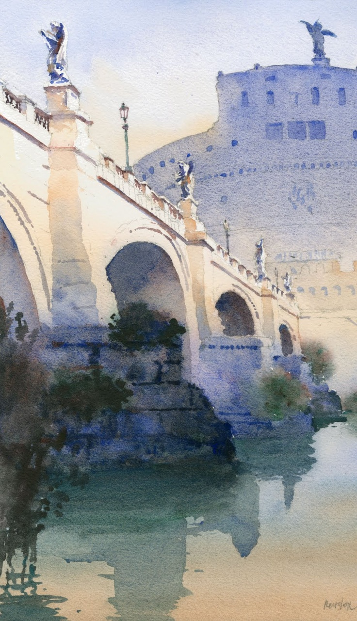 Ponte Sant'Angelo by Michael Reardon, watercolor painting.
