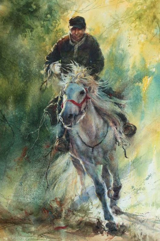 Gallop in the Forest by Wen-Cong Wang, watercolor painting.