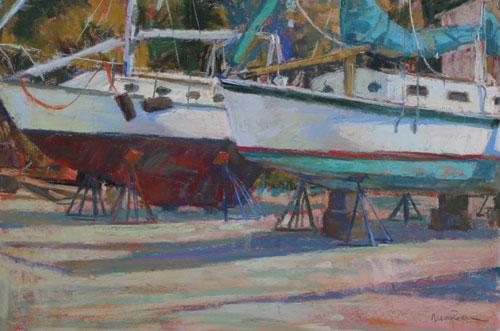 pastel_seascapes_Two-Boats_Fishing-Bay-Marina-VA_12x18_Maria-Reardon | artistsnetwork.com