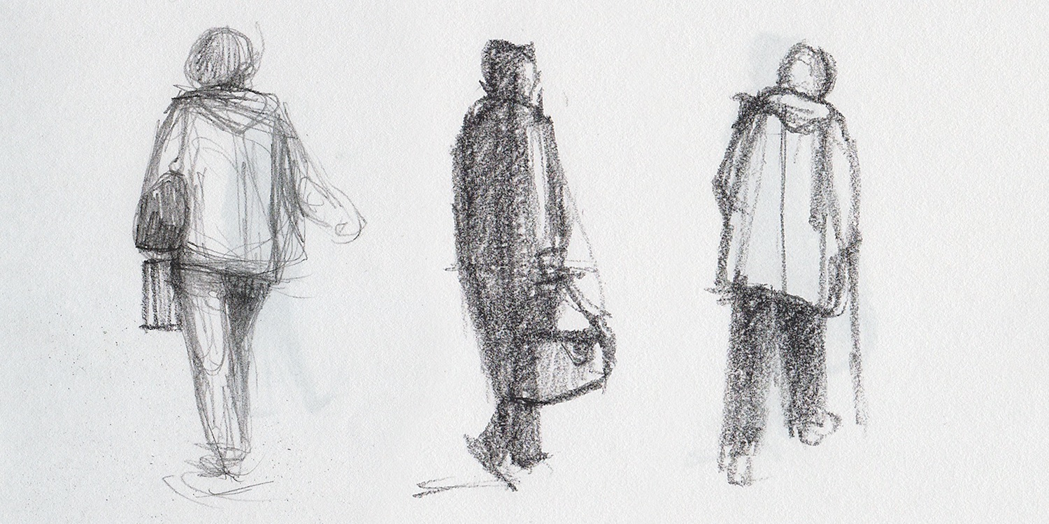 How to sketch people at the airport, feature from Artists Magazine
