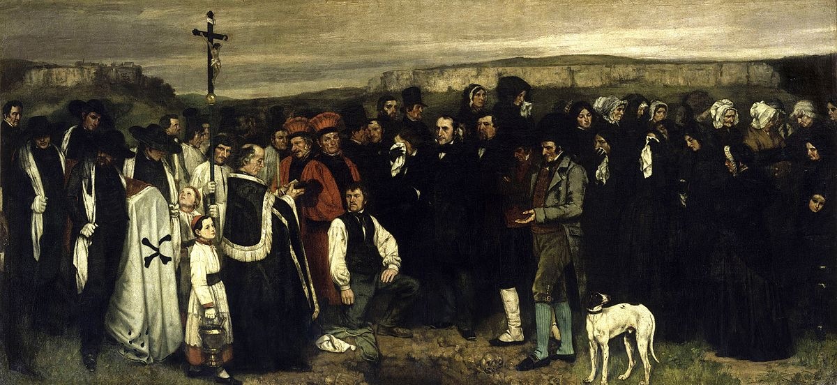 Burial at Ornanns by Gustave Courbet, 1849-50, oil.