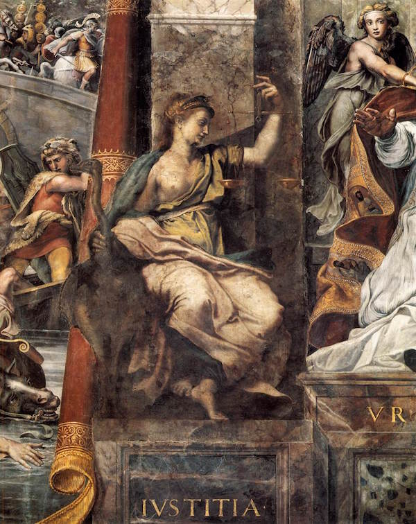 Allegory of Justice, from the Room of Constantine, Vatican Palace by Raphael.