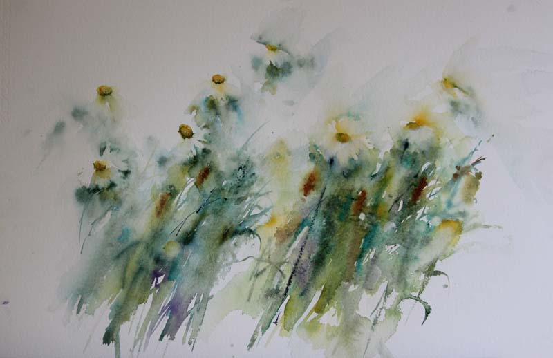 Watercolor painting tips: Summer Haze by Jean Haines, watercolor painting. See how the abstract stems and leaves of these flowers are infused with a sense of play and freedom? That's what painting for the bin gets you!