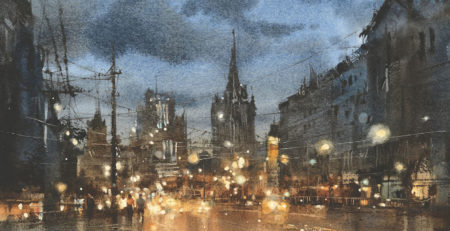 The Moscow Nocturne No. 3 by Chien Chung-Wei, detail | How Contrasting Light and Dark Creates an Explosive Effect in Art | Artists Network